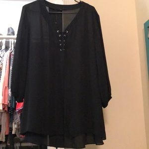 Black sheer blouse sz 2x